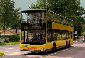 BERLIN BUS MAN DOUBLE DECKER ROUTE X34 NEAR KURPROMANADE SPAUDAU GATOW BERLIN GERMANY JUNE 2013 (9043124014).jpg