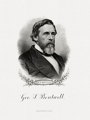 George S. Boutwell - Bureau of Engraving and Printing portrait of Boutwell as Secretary of the Treasury.