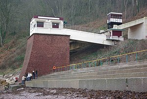 Babbacombe Cliff Railway - The lower station of the cliff railway