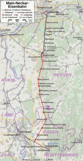 Mannheim Bundesland Karte.Main Neckar Eisenbahn Wikipedia