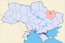 Map of Ukraine with Balakliia highlighted