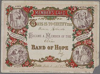 Hope UK - Band of Hope Member's Card 1870