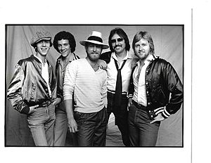 Bandana (country band) - The original Bandana lineup signed to Warner Bros. Records. L to R: Jerry Ray Johnston, Tim Menzie, Lonnie Wilson, Jerry Fox, Joe Van Dyke.