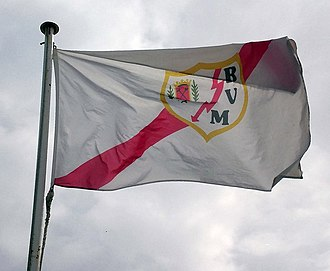 Rayo Vallecano - Flag with the shield of the club at Ciudad Deportiva Rayo Vallecano.