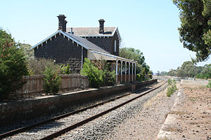 Geelong–Ballarat railway line - Now privately occupied Bannockburn station.