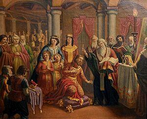 Coronation of the Bulgarian monarch - Prince Boris I baptized in Pliska