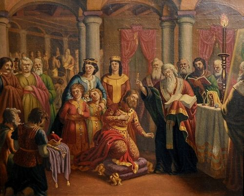 Baptism of Boris I and his court, painting by Nikolai Pavlovich Baptism of the Preslav Court.jpg