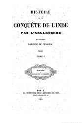 Auguste Barchou de Penhoën: Histoire de la conquête de l'Inde par l'Angleterre
