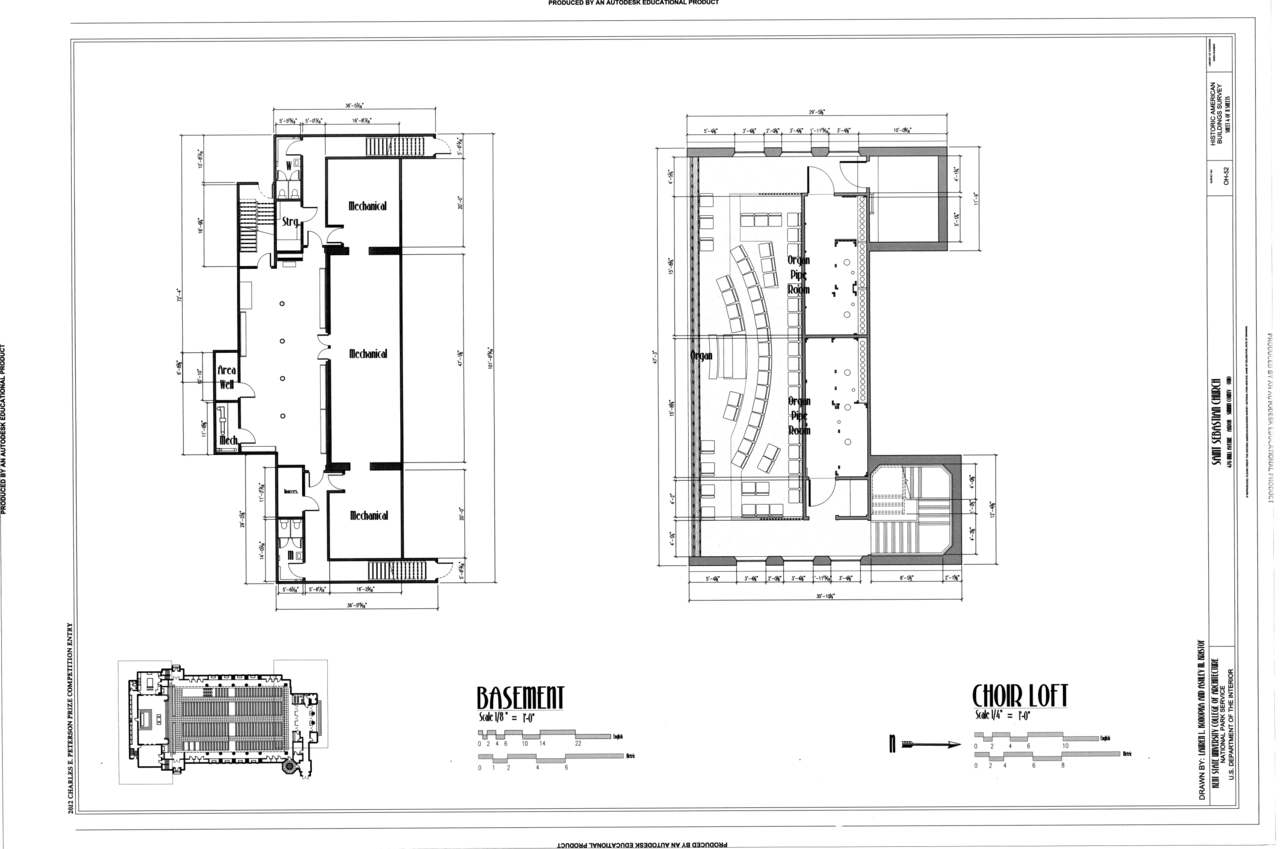 File basement and choir loft plans saint sebastian Oh design