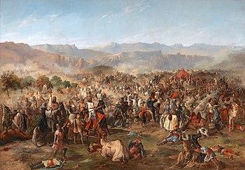The battle of Las Navas de Tolosa (historical painting by FP van Halen, 19th century)