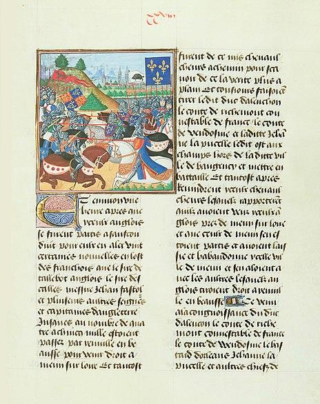 Битва при Пате. Миниатюра из «Хроник Карла VII» Жана Шартье. 1470-е гг.
