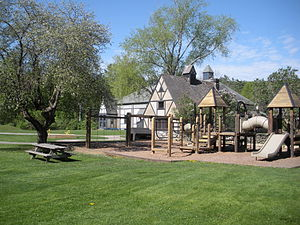 Berkshire Country Day School - One of the playgrounds at the front of the school.