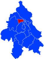 Location of New Belgrade within the city of Belgrade