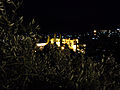 Bellapais Monastery by night from mountains.jpg