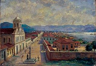 Pelourinho e arsenal da Marinha em Santos, 1850