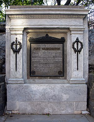 Battle of Fort Washington - Tablet commemorating the location of Fort Washington