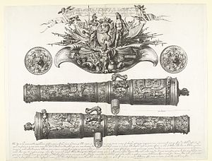 Abraham Blooteling - Two 48-pounders cast at Lübeck by Albert Benningk for the States-General of the Netherlands in 1669; engraving from 1671.