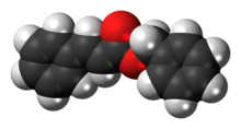 Space-filling model of the benzyl cinnamate molecule