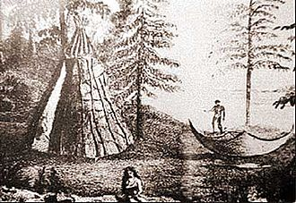 A Beothuk encampment in Newfoundland, c. 18th century Beothuk camp.jpg