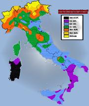 Percentuali dei capelli biondi nelle regioni italiane, basate sui dati raccolti da Ridolfo Livi sui militari italiani del 1859-1863[4] (da Renato Biasutti - Razze e popoli della Terra - 1941)