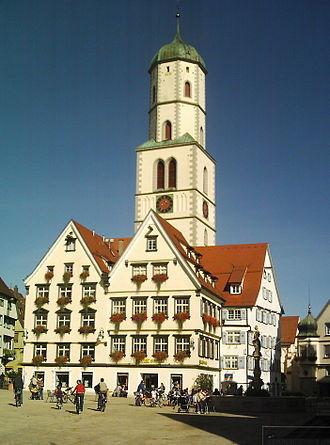 Biberach an der Riss - Market and the tower of St. Martin's Church