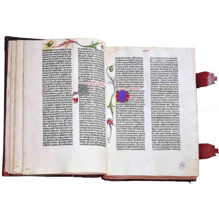 The Gutenberg Bible printed by Johannes Gutenberg in Mainz (Germany) who invented the printing using movable types in the 15th century.