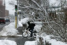Person on a bike waiting at a stoplight in the snow.
