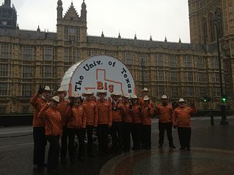 Big Bertha (drum) - Big Bertha and the Bertha Crew in front of the Parliament Building in London, England, on January 1, 2015.
