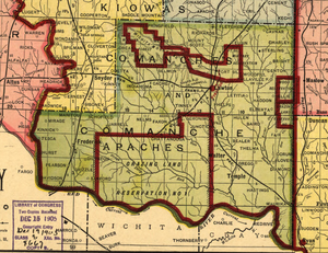 Comanche County, Oklahoma - Map of Comanche County in 1905