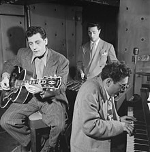 "Bill DeArango, Terry Gibbs, and Harry Biss, ""Three Deuces"", New York City, June 1947, photo: William P. Gottlieb"
