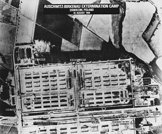 Auschwitz concentration camp - American surveillance photo of Birkenau (1944). South is at the top in this photo.
