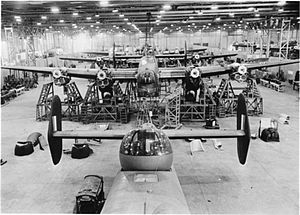 Handley Page Halifax - A row of Halifax bombers under assembly at the Handley Page factory at Cricklewood, 1942