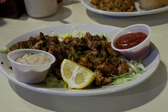 Alligator meat - Blackened alligator at Felix's restaurant in New Orleans, Louisiana, United States