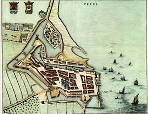 Convention of Royal Burghs - Blaeu map of Veere, Scotland's staple port in Flanders from 1541 to 1799