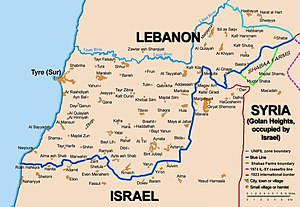 South Lebanon conflict (1985–2000) - The Blue Line covers the Lebanese-Israeli border; an extension covers the Lebanese-Golan Heights border