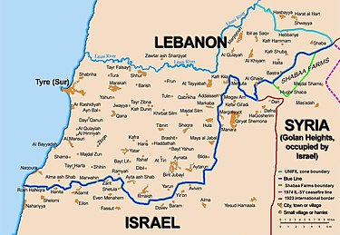 A map showing a light blue and a dark blue line between Lebanon and Israel.
