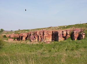 Blue Mounds State Park - Sioux Quartzite bedrock in Blue Mounds State Park