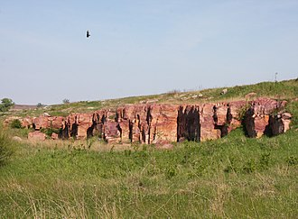 Blue Mounds State Park - Sioux Quartzite bedrock in Blue Mounds State Park