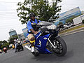 Blue and black bike in street at Black Bike Week Festival 2008.jpg