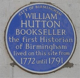 William Hutton (historian) - Blue plaque to William Hutton in Birmingham.