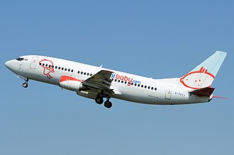 Bmibaby - Boeing 737-300 departs Amsterdam Airport Schiphol in 2012