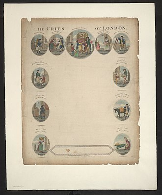 Street cries - Cover of Cries of London by Robert Laurie and James Whittle, 1802