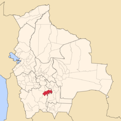 Location o the José María Linares Province athin Bolivie