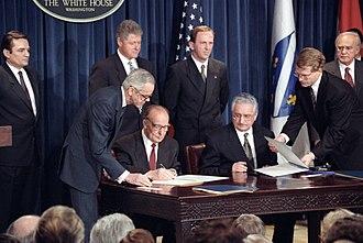 Franjo Tuđman - Franjo Tuđman and Alija Izetbegović signing the Washington Agreement in 1994