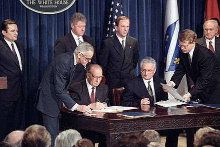 Franjo Tudman and Alija Izetbegovic signing the Washington Agreement in 1994 Bosnian President Alija Izetbegovic and Croatian President Franjo Tudjman sign the Croat-Muslim Federation Peace Agreement - Flickr - The Central Intelligence Agency.jpg