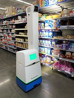 Bossa Nova robot scanning shelf at Walmart