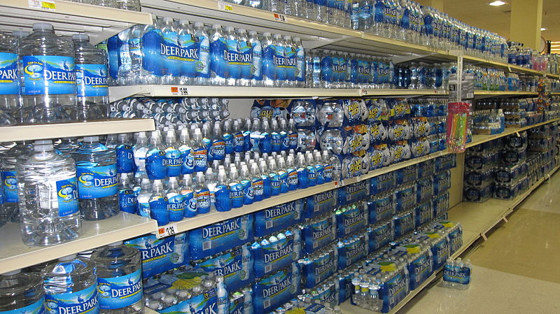 File:Bottled water in supermarket.JPG
