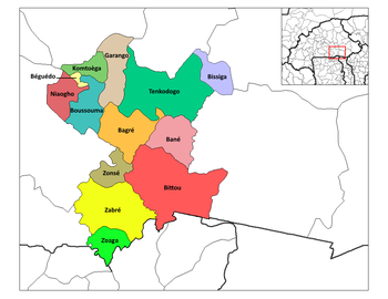 Zabré Department location in the province
