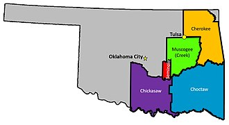 The reservations of the Five Civilized Tribes that were the subject of McGirt v. Oklahoma Boundaries of the Five Tribes in 1866.jpg