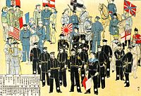 Military of the Powers during the Boxer Rebellion, with their naval flags, from left to right: Italy, United States, France, Austria-Hungary, Japan, Germany, United Kingdom, Russia. Japanese print, 1900.